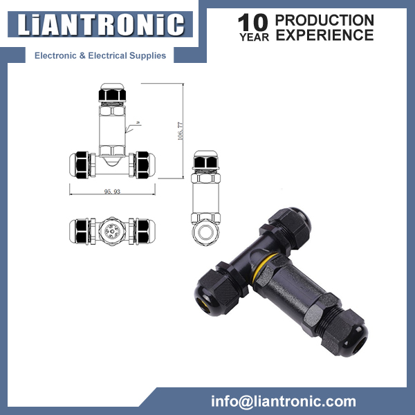 IP68 T Type 3 Way Waterproof Connector